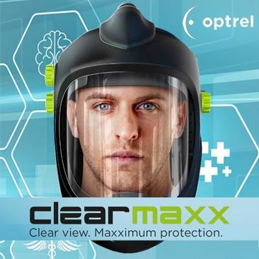 Optrel Clearmaxx gezicht- en adembescherming | medisch toepasbaar | Gelaatsscherm verse lucht | Gecertificeerd TH3 (EN 12941) |180 graden zicht | Breed inzetbaar